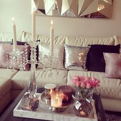This is cute, I like the throw pillows and the candle holder #apartmentlivingspace