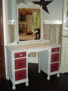 Vintage Shabby Distressed Vanity Desk by prettydistressed on Etsy, $350.00