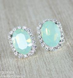 Mint green opal oval Swarovski crystal stud earrings - Endora Jewellery