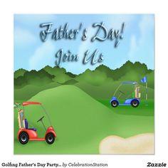 "Golfing #FathersDay #PartyInvitations 5.25"" Square Invitation Card"