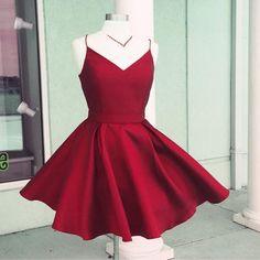 Simple V Neck A Line Homecoming Dress,Short