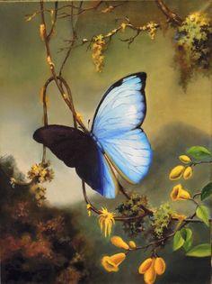 Бабочка - картина в интерьере, яркая работа, масляная живопись, купить