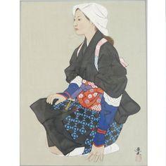 Amazon|大森 運夫 『大原女』 真筆 日本画 5613|人物 オンライン通販