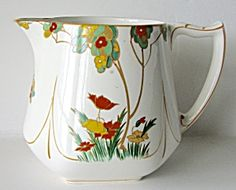 Art Deco Barton Pitcher Creamer Maytime Woodgreen (Art Deco-Ceramics) at Graceful Antiques and Vintage Collectibles Milk Jugs, Kettles, Making Out, Art Deco, Ceramics, Tea, Antiques, Tableware, Glass