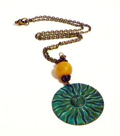 Sun Necklace Bohemian Necklace Bohemian Jewelry Patina Jewelry Antique Brass on Etsy, $24.00