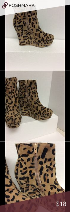 Just Fabulous  Ankle Wedge Boots Size 8 Women's Just Fabulous Animal Print Size 8 Ankle  Wedge Boots Just Fabulous Shoes Ankle Boots & Booties