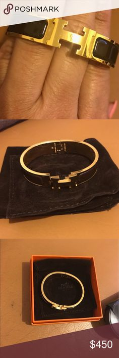 Hermes Clic H bracelet Brown  with gold trim Clic H bangle size PM ( for a small wrist )  - never worn / with box and pouch --impulse buy not a fan of yellow gold jewelry Hermes Jewelry Bracelets