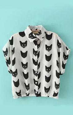 Cat Heads Printing Lapel Short Sleeves Chiffon Blouse