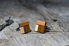 WOODEN CUFFLINKS Square Spalted wood by KajzarsWoodWork on Etsy