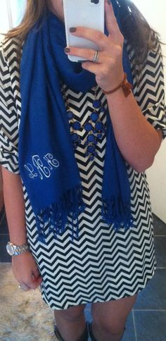 Monogrammed scarf and bubble necklace for the win!!!