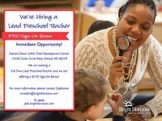 Now Hiring a Lead Preschool teacher! $750 Sign-On Bonus being offered!
