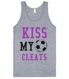 Kiss my Cleats Soccer tank top tee t shirt-Athletic Grey Tank