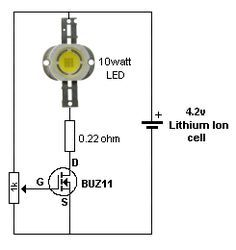 DIMMING A 10WATT LED The following circuit is a request from a reader. He wanted to dim a 10 watt LED from a 4.2v Lithium Ion cell.  The current will be about 3 amps and a power MOSFET is needed to deliver this current.  By Collin Mitchell - 30 LED Project.