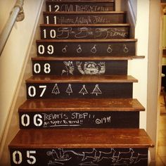 Chalkboard Paint = Great Christmas Stairs!