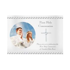 Boy Girl First Holy Communion White Cross Photo Personalized Invitation