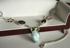 Gorgeous Larimar Gemstone Necklace, Amethyst, Moonstone, Peridot, Larimar and  Silver Necklace #etsy #silverandgemstones