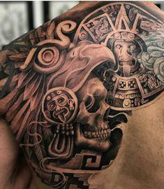 50 Of The Best Aztec Tattoos – Tattoo Insider – Tattoo Pattern Aztec Tattoos Sleeve, Aztec Tribal Tattoos, Aztec Tattoo Designs, Aztec Art, Geometric Tattoos, Chicano Tattoos Sleeve, Mayan Tattoos, Mexican Art Tattoos, Polynesian Tattoos
