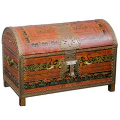 Large 1940s Trunk w/Brass Trim From India With Elephant Design | From a unique collection of antique