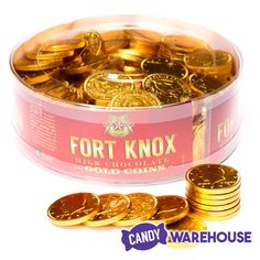 Fun and yummy — Fort Knox Gold Foiled Milk Chocolate Coins Candy Fort Knox Gold, Chocolate Gold Coins, Wholesale Candy, Gold Candy, Online Candy Store, Types Of Candy, Clear Plastic Containers, Penny Candy, Centerpieces