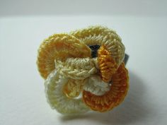 Items similar to Interlaced Flower Ring In Four Yellows - Handmade Crochet Ring on Etsy Crochet Belt, Crochet Rings, Baby Presents, Shades Of Yellow, Chainmaille, Diy Kits, Crochet Flowers, Card Making, Unique Jewelry