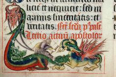 Dragon-1 Types Of Dragons, Here Be Dragons, Medieval Dragon, Medieval Art, Medieval Manuscript, Illuminated Manuscript, Drawings, Animals, Monsters