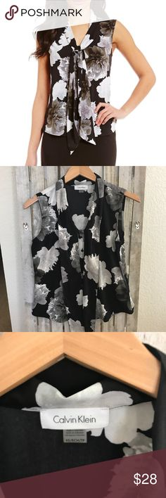 Calvin Klein Black Floral Crepe De Chine Tie-neck Calvin Klein Women's Black Floral Printed Crepe De Chine Tie-neck Top. Size XS. Sleeveless. New without tags. Has extra button. Ask questions. Calvin Klein Tops Blouses