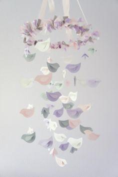 Nursery Decor Mobile- Lavender, Baby Pink, Gray, & White Birds