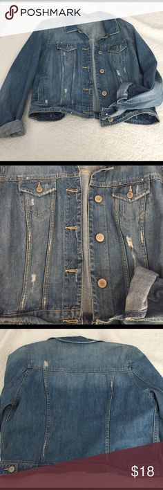 American Eagle Jean Jacket Adorable perfect condition American eagle jean jacket. Distressed pieces around as show in pictures. Light-medium wash color American Eagle Outfitters Jackets & Coats Jean Jackets