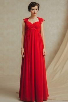 Splendide et délicate Robe rouge pour la femme grossesse taille Empire dos nu sans manches