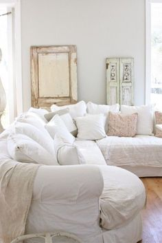 Shabby chic white living room area