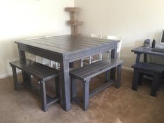 Diy counter height bench counter height bench bench and counter altered 8 seater table do it yourself home projects from ana white solutioingenieria Choice Image
