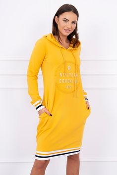 Krásne mikinové šaty športové s potlačou vpredu a kapucňou Brooklyn, Products, Gadget