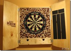Handmade-custom dart board with wine cork backboard and nifty drawers to store your darts. johncanmakeit.com