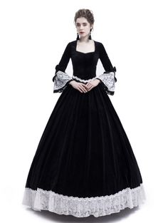 Black Velvet Civil War Theatrical Victorian Dress - D-RoseBlooming Victorian Dress Costume, Victorian Ball Gowns, Gothic Victorian Dresses, Costume Dress, Gothic Fashion, Victorian Fashion, Steampunk Fashion, Vampire Dress, Gothic Mode
