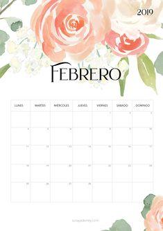 Calendario para imprimir Febrero 2019  #calendario #calendar #febrero #february #freebie #printable #imprimir #flores #nature Free Printable Calender, Printable Labels, Free Printables, Calendario Editable, Diy Calendario, Diy Agenda, Agenda Planner, October Calendar, 2019 Calendar