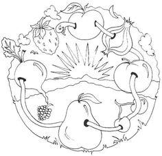 Ovoce -omalovánka Mandala Nature, Tangle Doodle, Coloring Book Pages, Christmas Art, Tangled, Malta, Doodles, Snoopy, Drawings