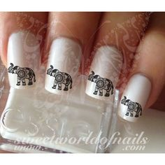 Elephant Nail Art Indian Mandala Nail Water Decals Transfers Wraps