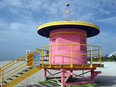 Pink lifeguard stand in Miami. Our beautiful Miami beaches are only a few steps away from Vintro Hotel and Kitchen. #vintro #beach #vacation