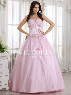 Pink Ball Gowns Long Beaded Tulle Satin Sweetheart Corset Prom Dress - US$ 201.99 - Style P0051 - Victoria Prom