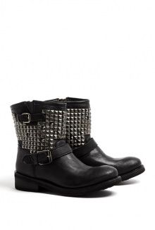 Titan Antique Silver Studded Ankle Biker Boots by Ash