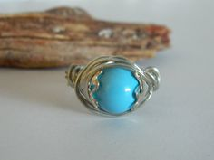Turquoise Wire Wrap Ring Swarovski Glass Pearl by uniquenique, $22.00 #onfireteam #lacwe #teamfest #tbec #ring #accessories #jewelry