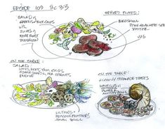 Poon's sketch for a dinner scene for characters Freddie Lounds, Will Graham, and Hannibal.