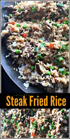 Steak Fried Rice - An Affair from the Heart -- Thin sliced steak, carrots, peas and onion all stir fried together with steak and egg.  This Steak Fried Rice is perfectly seasoned and oh so delicious!