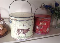 Shabby Chic set of 2 Vintage storage Tins Containers | eBay  £31.95