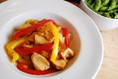 CROCKPOT CHKN TERIYAKI: 1lb boneless, skinless chicken breasts, cut into 1 inch pieces  1 16oz bag frozen pineapple tidbits  2 cloves garlic, minced  1/2 red bell pepper, thinly sliced  1/2 yellow pepper, thinly sliced  1/2 cup reduced sodium soy sauce  1/4 cup brown sugar  1/2 tsp pepper