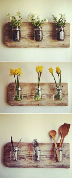 upcycled jars into hanging flower pots