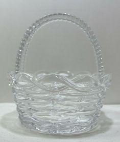 Glass Easter Basket Pinwheel Bottom Heavy  #Unknown #ArtDeco Pinwheels, Easter Baskets, Vintage Items, Store, Glass, Ebay, Drinkware, Storage, Wind Spinners