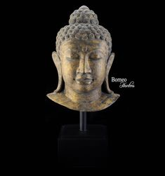 """Brass Buddha Bust on Wooden Stand 22""""Golden Buddha Bust With A Serene & Pensive Expression Offering Blessing by BorneoHunters on Etsy"""