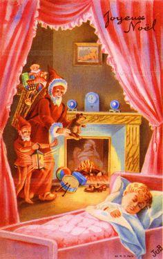 Joyeux Noël - Un enfant dort dans son lit, par les rideaux écartés on voit le Père Noël et un lutin déposer ses jouets près de ses souliers devant la cheminée (from http://mercipourlacarte.com/picture?/1278/)