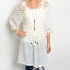 """WHITE CROCHET DETAIL TUNIC FROM NECK TO HEM! White tunic w crochet detail along front and back as well as in sleeves. Right down to the adorable detail along the hemline!  Wear a tank under this one!  55% polyester 45% acrylic. Small measures L37"""" B48"""" W44"""" S (2) M (2) L (2) Please comment size needed below.  PLEASE DO NOT BUY THIS LISTING. Allow me to make your separate listing for you or help you make a bundle ❤️.  NO PAYPAL NO TRADES. Due to Poshmark's commission, price is FIRM unless…"""